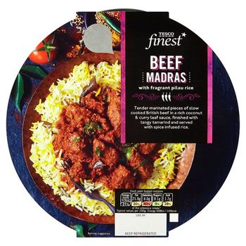 Tesco Finest Beef Madras And Rice